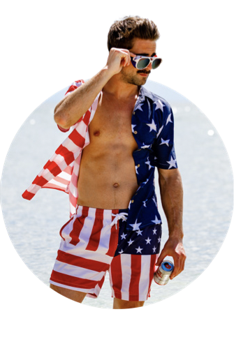 The Reagans American Flag Patch Swim Trunks
